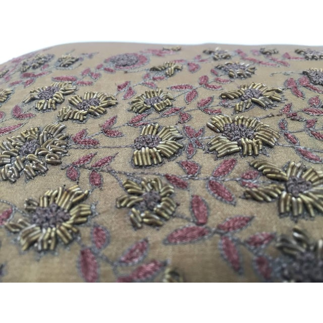Mid Century Silk Throw Pillow Embroidered With Raised Metallic Embroidery For Sale In Los Angeles - Image 6 of 9