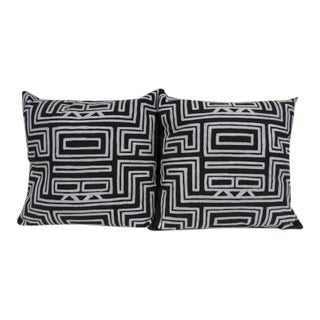 Abstract, Black and White Geometric Throw Pillows - a Pair