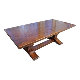1990s Country Ralph Lauren Honey Colored Trestle Dining Table For Sale