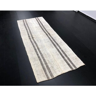 1960s Vintage Organic Wool Aztec Turkish Handmade Striped Decorative Kilim Rug- 3′8″ × 9′4″ Preview
