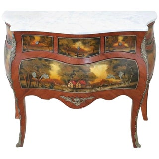 20th Century French Louis XV Style Hand Painted Chest of Drawers or Commode For Sale