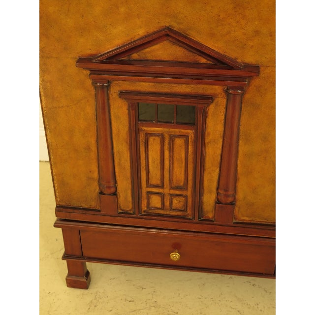 Wood Maitland Smith Leather Wrapped House Form China Cabinet For Sale - Image 7 of 13