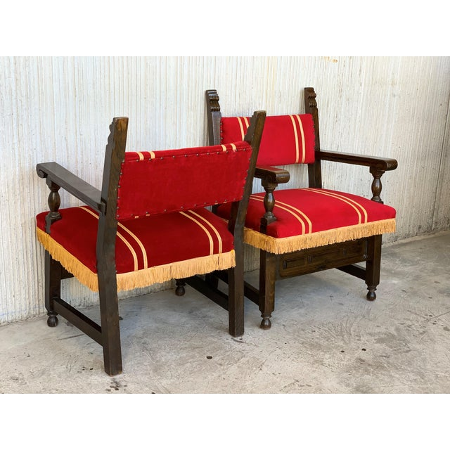 Wood 19th Set of Six Spanish Low Armchairs in Carved Walnut and Red Velvet Upholstery For Sale - Image 7 of 12