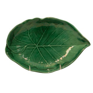 1870s English Majolica Green Leaf Plate For Sale
