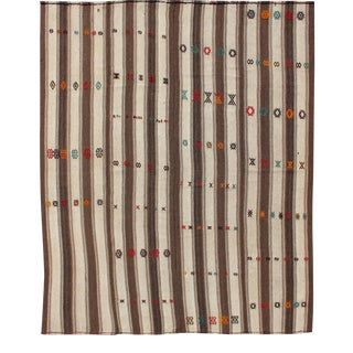 Vintage Turkish Kilim Rug With Vertical Stripes in Brown and Cream For Sale
