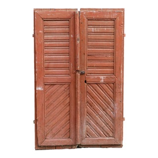 Antique Original Painted Hungarian Barn Doors - a Pair For Sale