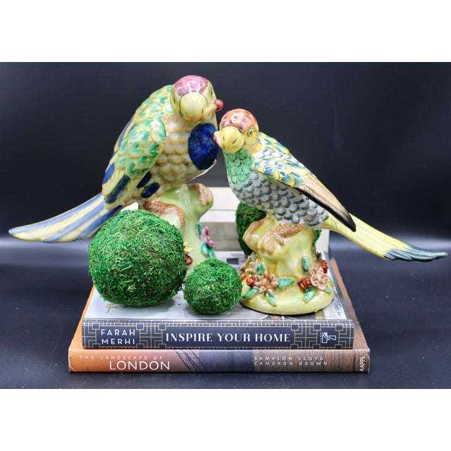 Mid-20th Century Colorful Chinese Export Porcelain Parrot Figurines - a Pair For Sale - Image 12 of 12