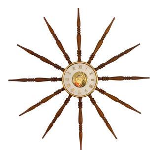 1960s Mid Century Welby Starburst Sunburst Atomic Wall Clock. For Sale