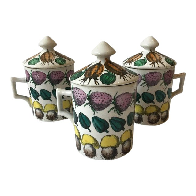 3 Fornasetti 1960s Giostra Di Frutta Mugs With Lids For Sale