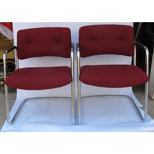 Baughman Style Vintage Chrome Armchairs - A Pair - Image 6 of 6