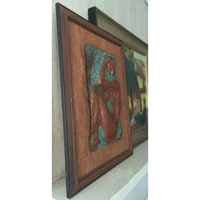 Figurative Mid-Century Nude Woman Copper Relief Art For Sale - Image 3 of 8