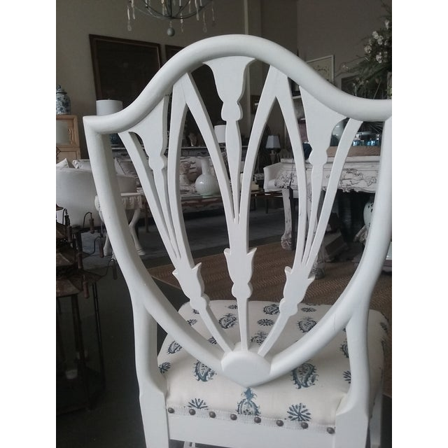 Vintage Hepplewhite Side Chairs Brunschwig Paisley Fabric - a Pair (6 Available) For Sale In Cleveland - Image 6 of 7