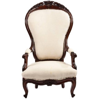 Unusually Large-Scale Victorian Mahogany Parlour Chair For Sale