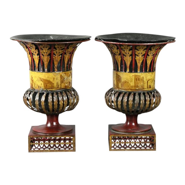 Pair of Regency Tole Urns For Sale