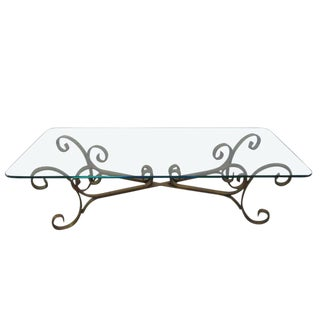 French Gilded Wrought Iron Coffee Table For Sale