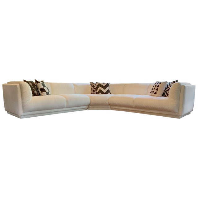 This 3 piece sectional is part of the 1980's Bernhardtn Flair Collection and is often attributed to Milo Baughman. It has...