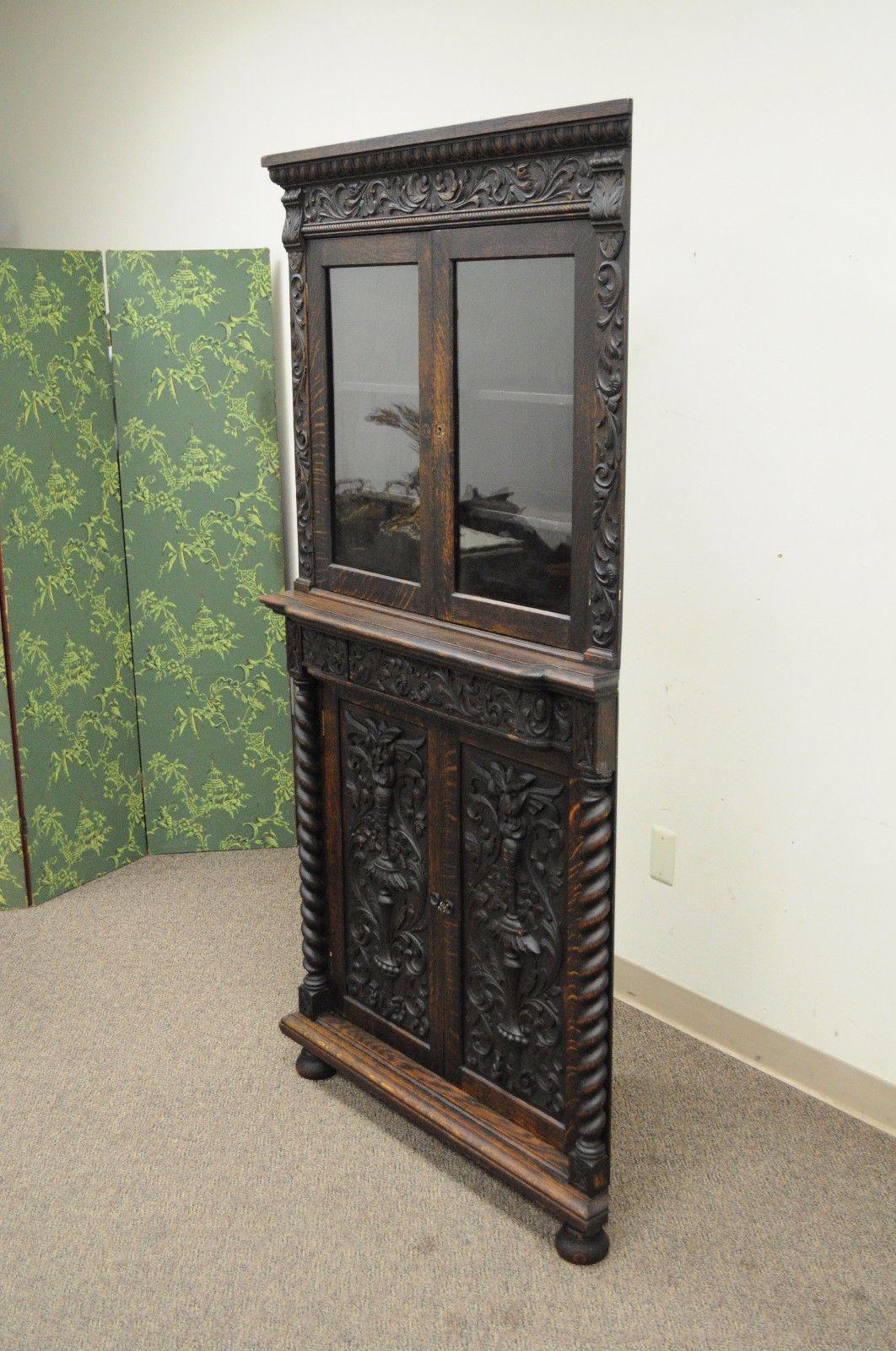 Antique Corner China Cabinet Cupboard Renaissance Revival Belgian Carved Oak    Image 4 Of 12