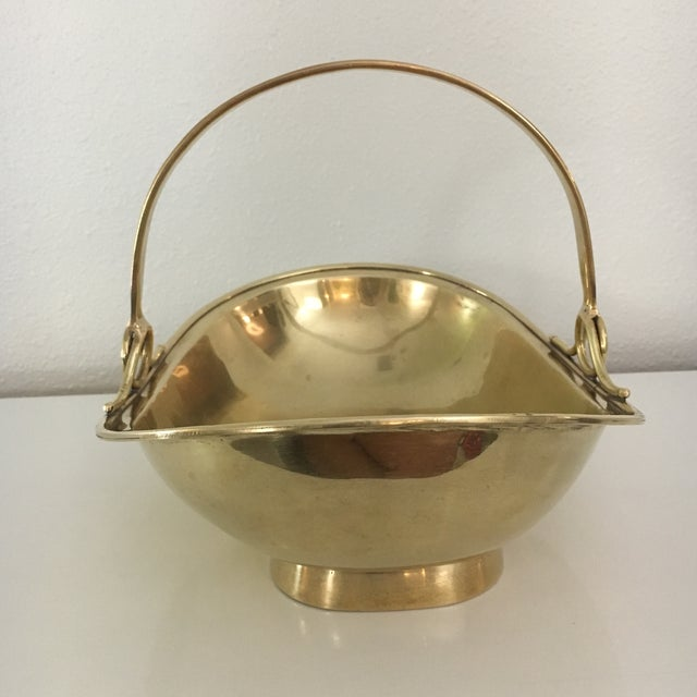 Vintage Solid Brass Basket With Handle For Sale - Image 5 of 8