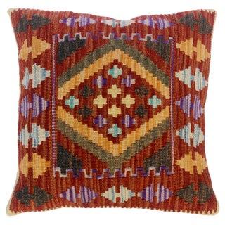 "Christen Rust/Green Hand-Woven Kilim Throw Pillow(18""x18"") For Sale"