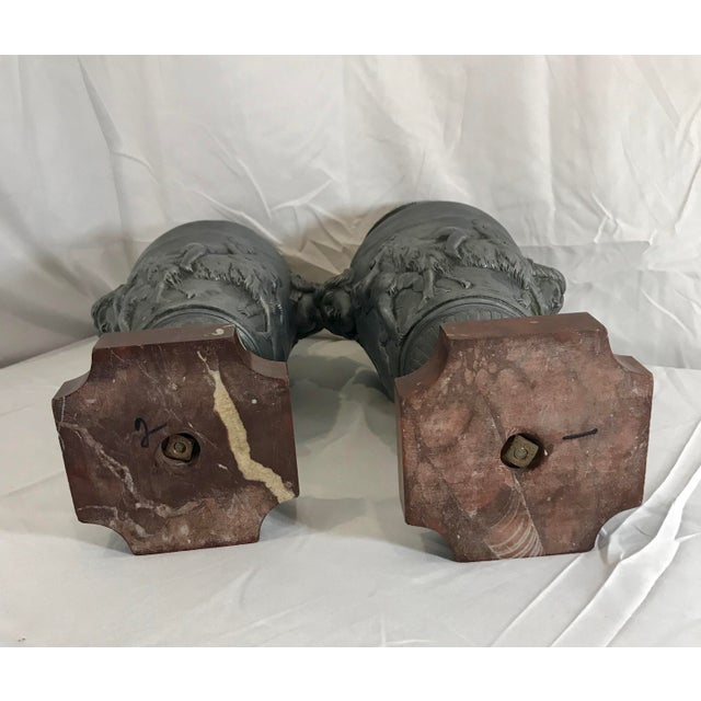 19th Century French Neoclassical Pewter on Marble Urns - a Pair For Sale - Image 10 of 13