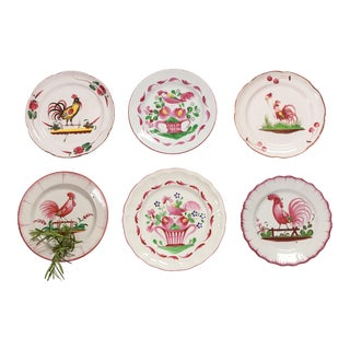 6 Piece Rooster Themed Pottery Plates For Sale