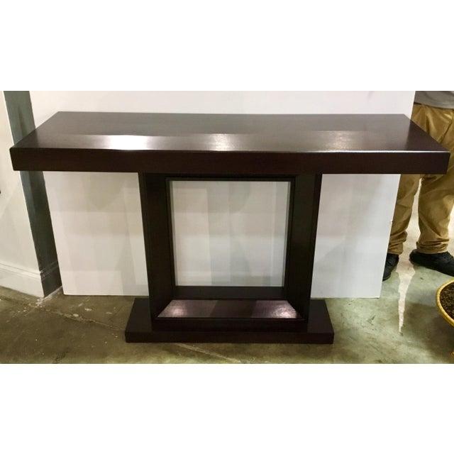 Modern Dark Walnut Wood Console Table