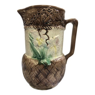 Majolica Ceramic Pitcher With Daffodils For Sale