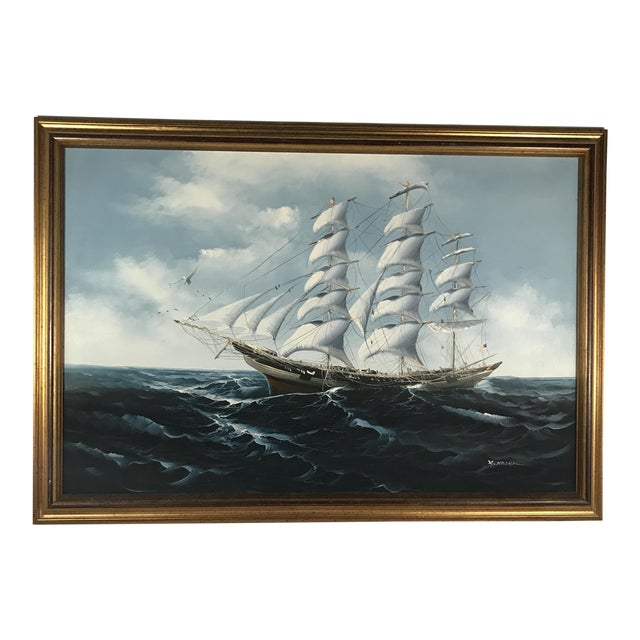 Large Sailing Ship Painting For Sale