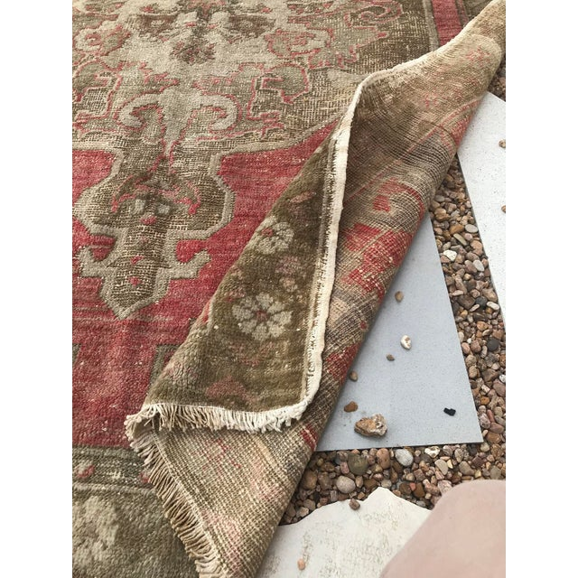 """Hand Made Vintage Turkish Distressed Area Rug- 3'10""""x5'10"""" For Sale - Image 6 of 7"""