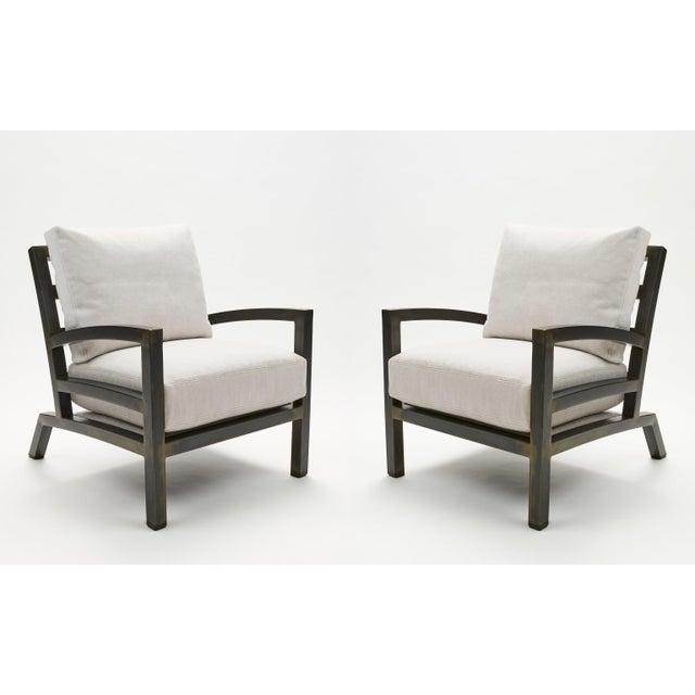 Fabric Pair of Grm Bespoke, Handmade Custom Steel Urban Lounge Chair for Studio 6f For Sale - Image 7 of 7