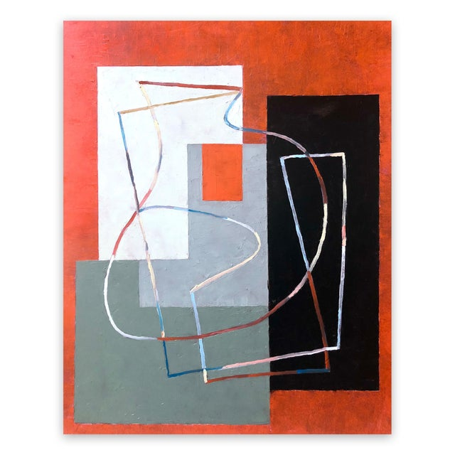 "Jeremy Annear Jeremy Annear ""Breaking Contour (Red Square) I"", Painting For Sale - Image 4 of 4"