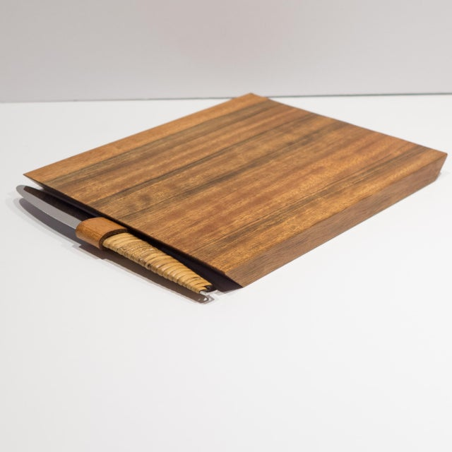 Mid-Century Modern Carl Aubock Cheeseboard with Knife For Sale - Image 3 of 9