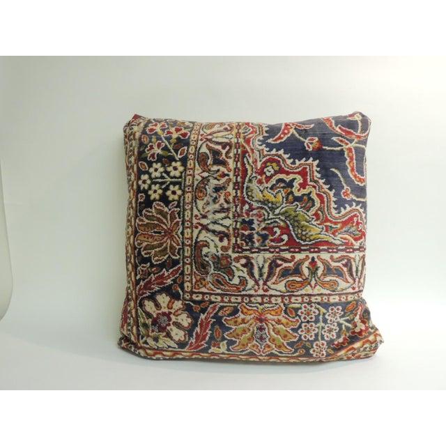 1950s Vintage Large Cotton Velvet Floral Turkish Floor Pillow For Sale - Image 5 of 5