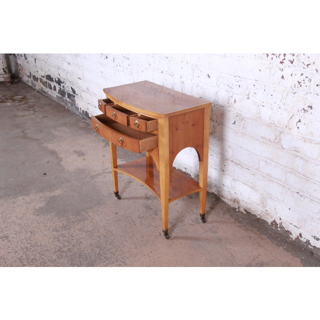 Metal Baker Furniture Neoclassical Burl Wood Entry Table For Sale - Image 7 of 13