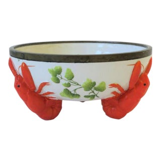 French Limoges Majolica Style Lobster Decorated Serving Bowl For Sale