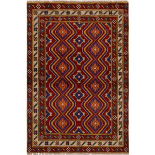 1990s Vintage Balouchi Frederic Red/Ivory Wool Rug - 3′5″ × 4′10″ For Sale
