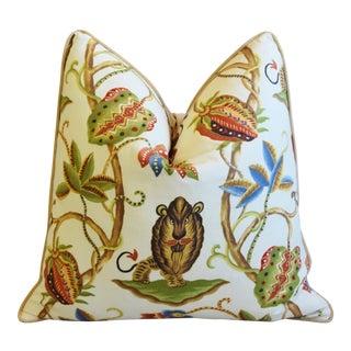 """P. Kaufmann Bazaar Paradise Lion Feather/Down Pillow 24"""" Square For Sale"""