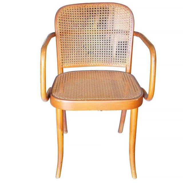 Set of six, Stendig cane armchairs with bent Beechwood frame and handwoven cane seat attributed to Josef Hoffmann. Made in...