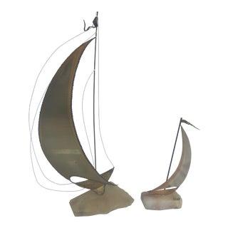 Vintage Brass Sailboat Sculptures - A Pair For Sale