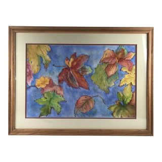 """1990's Vintage """"Autumn Leaves"""" Original Watercolor Painting by Dawn For Sale"""