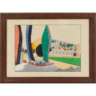 Fernand Leger Museum Building Gouache Painting For Sale