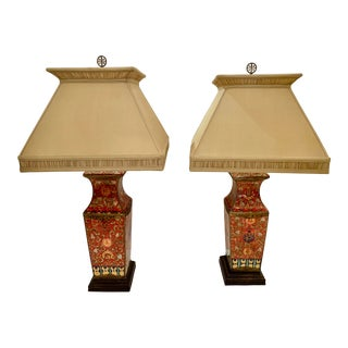Chinese Ceramic Table Lamps With Custom Shades -A Pair For Sale