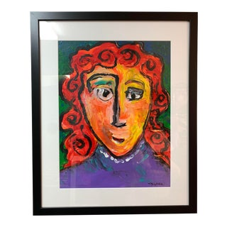 Late 20th Century Vintage Colorful Portrait Painting For Sale