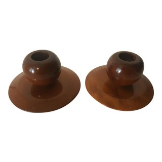 Mid Century Modern Myrtlewood Wooden Candle Holders - Set of 2 For Sale
