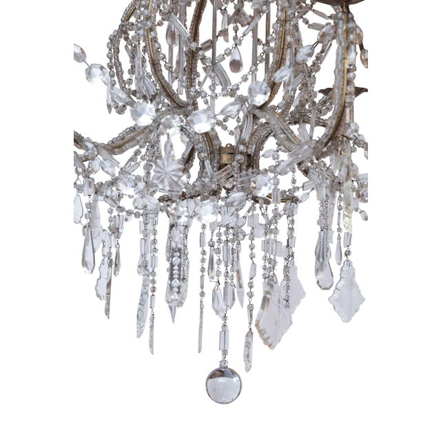 French Italian Crystal Beaded Chandelier For Sale - Image 3 of 6