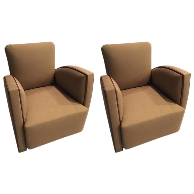 French Art Deco Club Chairs - A Pair - Image 1 of 9