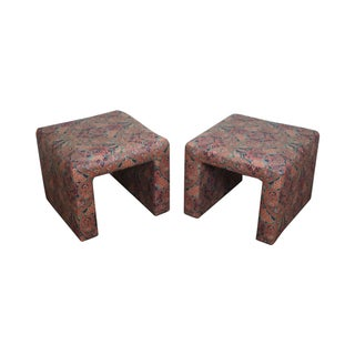 Mid-Century Parsons Paisley Ottomans - A Pair For Sale