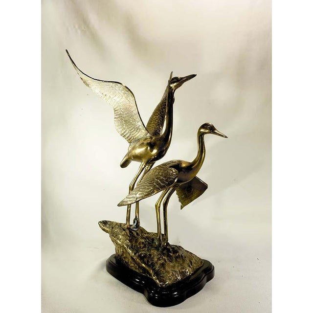 20th Century Art Deco Brass Cranes on Rock Sculpture For Sale In Los Angeles - Image 6 of 6
