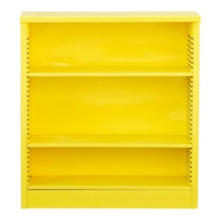 1960s Steel Tanker Style Bookcase in Yellow, Custom Refinished For Sale