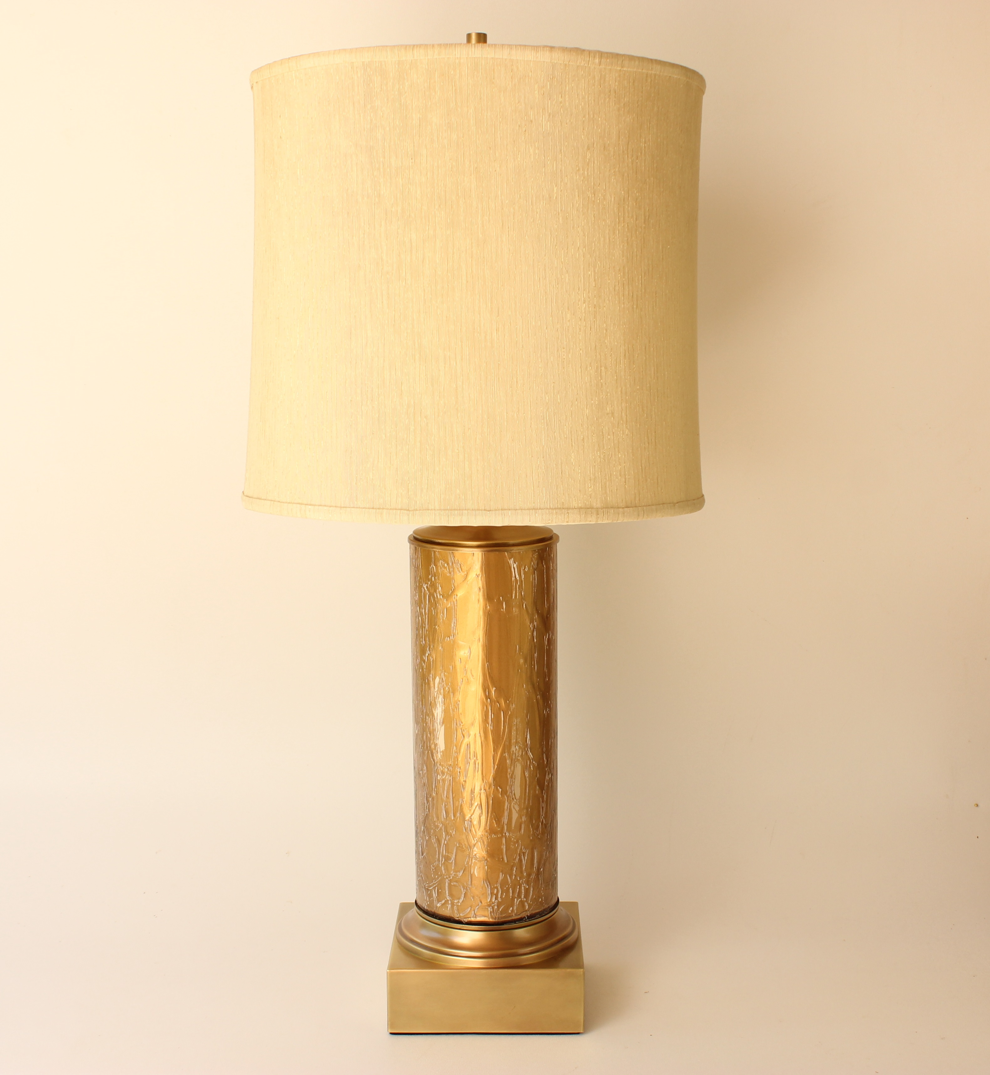 This Vintage Table Lamp Features A Gold Backed Crackle Glass Cylinder With  Brushed Brass Accents